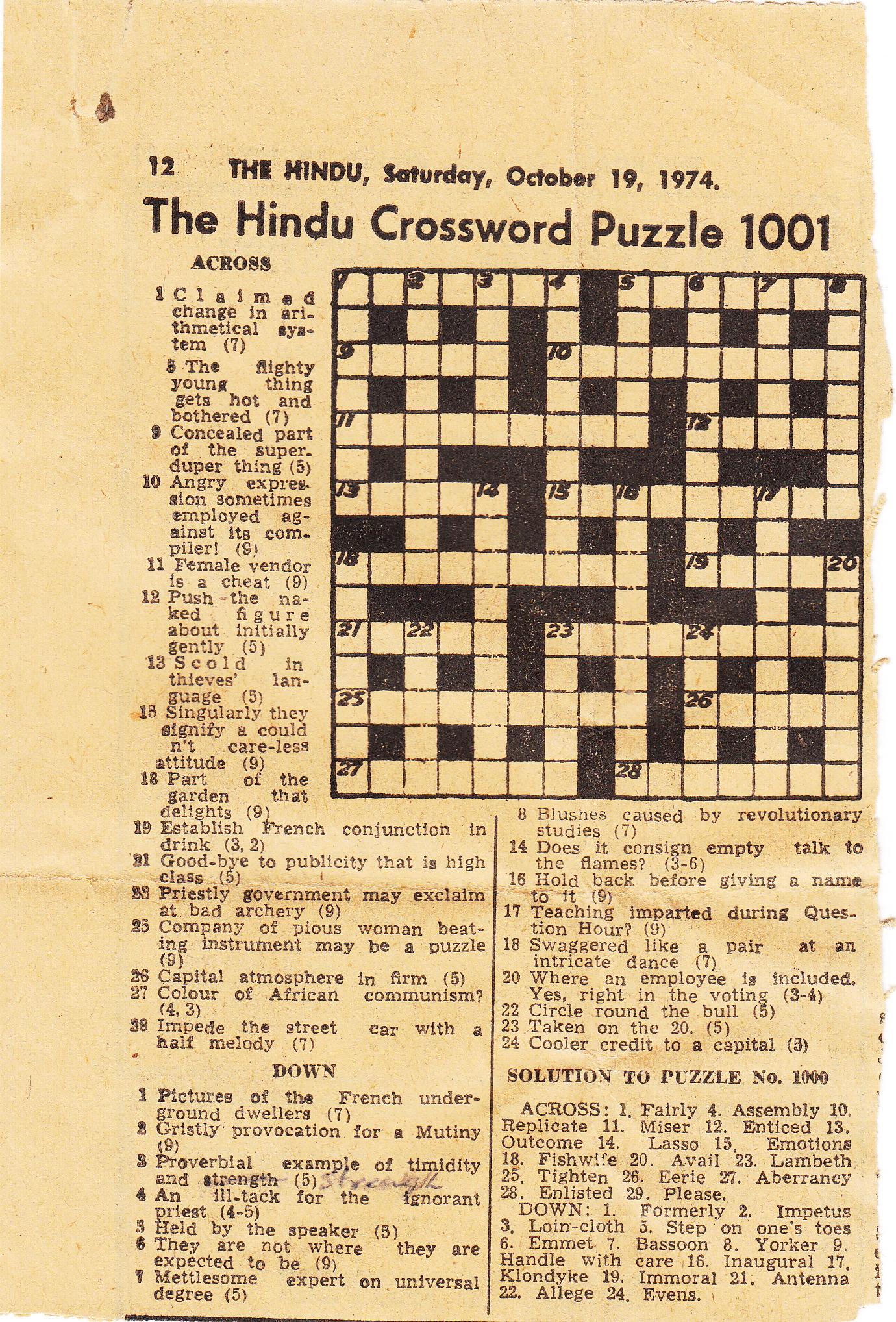 The Hindu Crossword 1001 October 19 1974 Unclued